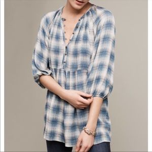 Anthro | Maeve Calavon Plaid Boho Tunic Top | XS